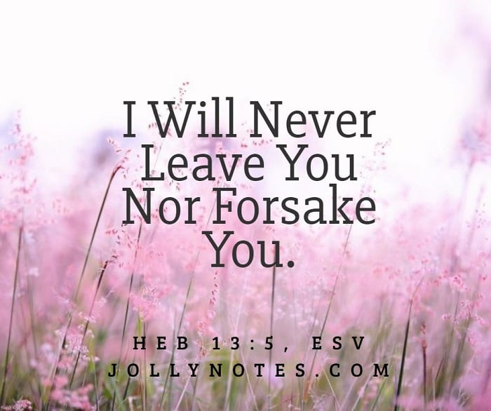 I Will Never Leave You Nor Forsake You.