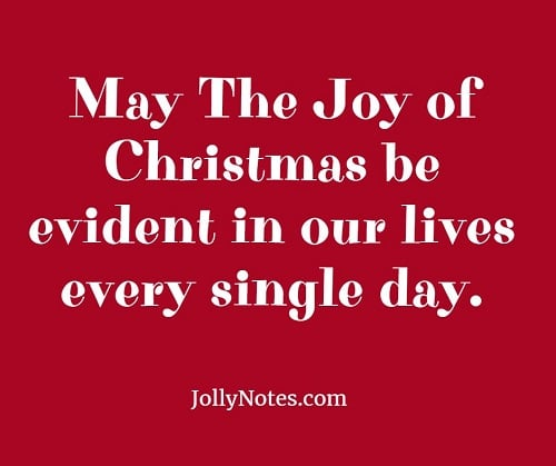 May The Joy Of Christmas Be Evident In Our Lives Everyday.