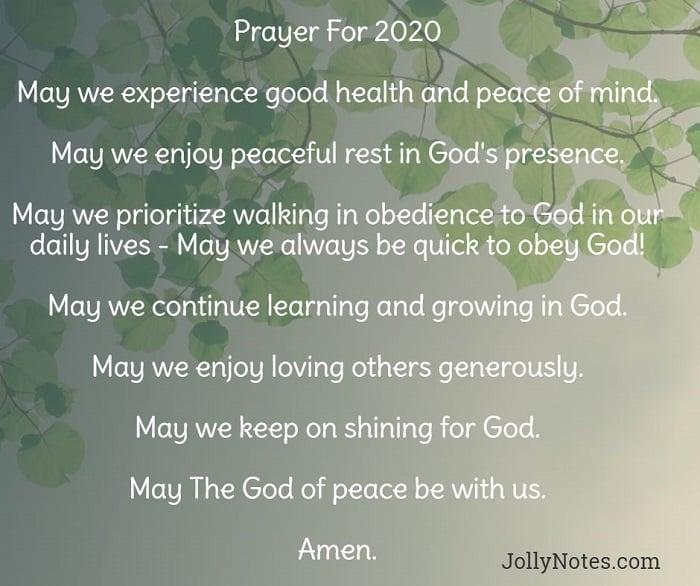Prayer For 2020.