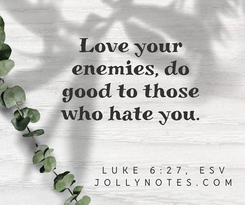 Love your enemies, do good to those who hate you.